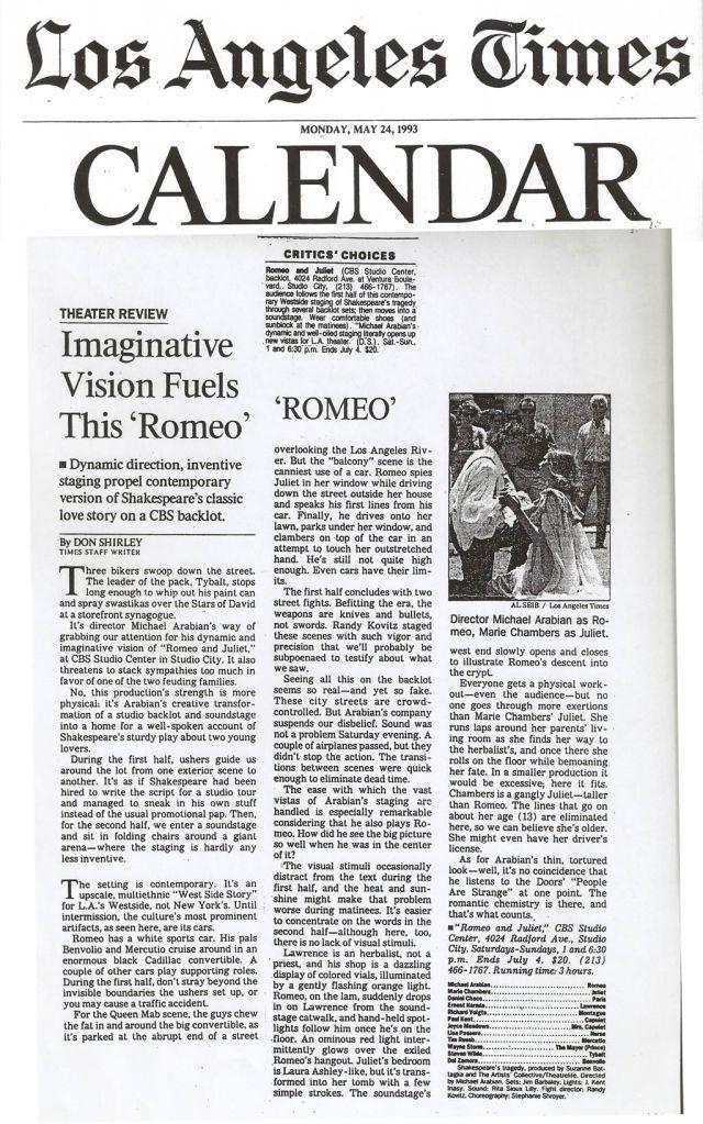 Romeo and Juliet LA Times 1993