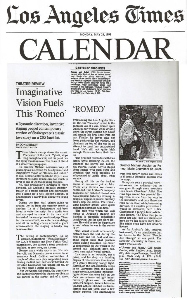 Romeo and Juliet LA Times 1993