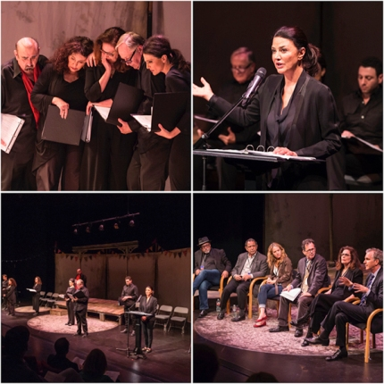 Clockwise from top left: Ken Davitian, Karen Kondazian, Leslie Ayvazian, Sam Anderson, Christine Kludjian; Oscar-nominee Shohreh Aghdashloo; panel moderated by Steven Leigh Morris; cast of Neil McPherson's 'I Wish to Die Singing.' (Photo: Craig Schwartz)
